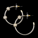 Elegance by Carbonneau E-8838-AS-Gold Antique Silver and Gold Rhinestone Hoop Earrings 8838