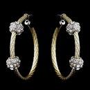 Elegance by Carbonneau E-8838-G-Clear Gold Clear Rhinestone Hoop Earrings 8838