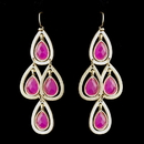 Elegance by Carbonneau E-8839-G-Fuchsia Gold Fuchsia Crystal Fashion Dangle Earrings 8839