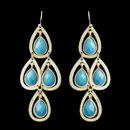 Elegance by Carbonneau E-8839-G-Turquoise Gold Turquoise Crystal Fashion Dangle Earrings 8839