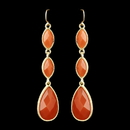 Elegance by Carbonneau E-8840-G-Orange Gold Orange Dangle Earrings 8840