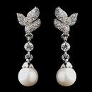 Elegance by Carbonneau E-8932-AS-DW Antique Rhodium Silver Clear CZ Crystal Bridal Earrings 8932 w/Pearl Drop