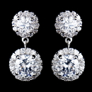Elegance by Carbonneau E-9115-AS-Clear Antique Rhodium Silver CZ Crystal Drop Earrings 9115