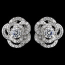 Elegance by Carbonneau E-9206-RD-CL Rhodium Clear CZ Crystal Atomic Rose Stud Earrings 9206