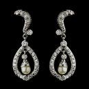 Elegance by Carbonneau E-9255-AS-DW Silver Diamond White Pearl & CZ Crystal Kate Middleton Bridal Wedding Earrings 9255