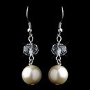 Elegance by Carbonneau E-9265-S-Rum Silver Ivory Pearl & Crystal Ball Drop Hook Earrings 9265