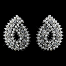 Elegance by Carbonneau E-9268-AS-White Silver White Pearl and Clear Rhinestone Paisley Style Earrings 9268
