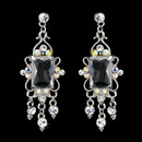 Elegance by Carbonneau E-936-Silver-AB Vintage Silver & AB Crystal Drop Earrings E 936