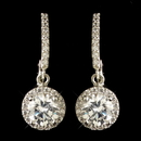 Elegance by Carbonneau E-9402-RD-CL Rhodium Clear Round CZ Crystal Leverback Drop Earrings 9402