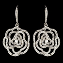 Elegance by Carbonneau E-9416-RD-CL Rhodium Clear CZ Crystal Clear Rose Leverback Drop Earrings 9416