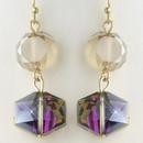 Elegance by Carbonneau E-9521-G-LT-TOP Gold Light Topaz Diamond Faceted Glass Drop Earrings