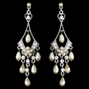 Elegance by Carbonneau E-955-Silver-White Beautiful Silver White Chandelier Earrings E 955