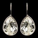 Elegance by Carbonneau E-9602-S-CL Silver Clear Swarovski Crystal Element Teardrop Leverback Earrings 9602