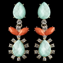 Elegance by Carbonneau E-9624-G-Mint Gold Mint & Coral Rhinestone Dangle Earrings 9624