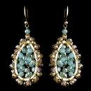Elegance by Carbonneau E-9632-G-Mint Gold Mint & Topaz Rondelle Swarovski Crystal Bead Drop Earrings
