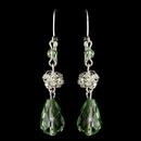 Elegance by Carbonneau E-9714-S-Green Silver Green Rondelle & Clear Rhinestone Leverback Drop Earrings 9714