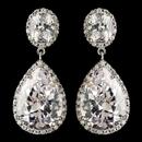 Elegance by Carbonneau E-9737-RD-CL Rhodium Clear Large Teardrop CZ Crystal Drop Earrings 9737