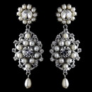Elegance by Carbonneau Antique Rhodium Silver Clear Rhinestone & Freshwater Pearl Accent Drop Earrings 9882