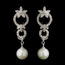 Elegance by Carbonneau E-9956-AS-Ivory Antique Silver Ivory Pearl Drop & Clear CZ Crystal Bridal Earrings 9956