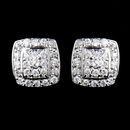 Elegance by Carbonneau E-9989-SS-Clear Solid 925 Sterling Silver Pave Square CZ Crystal Earrings 9989