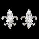 Elegance by Carbonneau E-9991-SS-Clear Solid 925 Sterling Silver CZ Crystal Fleur De Lis Stud Earrings 9991