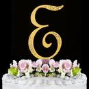 Elegance by Carbonneau E-Sparkle-Gold Sparkle ~ Swarovski Crystal Wedding Cake Topper ~ Gold Letter E