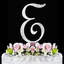 Elegance by Carbonneau E-Sparkle-Silver Sparkle ~ Swarovski Crystal Wedding Cake Topper ~ Silver Letter E