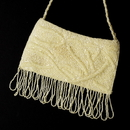 Elegance by Carbonneau EB-100-Ivory Wonderful Ivory Satin Glass Bead Fringe Evening Bag 100