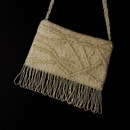 Elegance by Carbonneau EB-100-Silver Wonderful Silver Satin Glass Bead Fringe Evening Bag 100