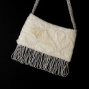 Elegance by Carbonneau EB-100-White Wonderful White Satin Glass Bead Fringe Evening Bag 100