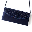 Elegance by Carbonneau EB-213-Navy Beautiful Navy Satin Beaded Evening Bag 213