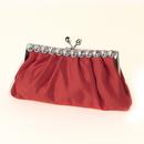 Elegance by Carbonneau EB-302-Red Red Satin Rhinestone Evening Bag 302