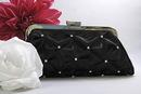 Elegance by Carbonneau EB-303-Black Black Satin Rhinestone Evening Bag 303