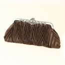Elegance by Carbonneau EB-308-Coffee Coffee Satin Evening Bag 308 with Rhinestone Accented Vintage Frame