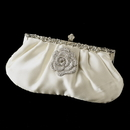 Elegance by Carbonneau EB-309-Brooch-113 Rhinestone Accented Vintage Frame Satin Evening Bag 309 with Antique Silver Clear Floral Brooch 113
