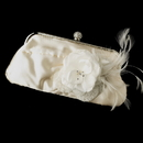 Elegance by Carbonneau EB-315-Clip-8993 Satin Crystal Evening Bag 315 with Silk Sheer Organza Flower Feather Clip 8993