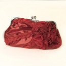 Elegance by Carbonneau EB-328-Red Red Braided Ruffle Floral Rhinestone Evening Bag 328