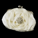 Elegance by Carbonneau EB-329-Brooch-30 Silver Frame & Shoulder Strap Floral Rose Evening Bag 329 with Pearl & Rhinestone Brooch 30