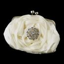 Elegance by Carbonneau EB-329-Brooch-58 Silver Frame & Shoulder Strap Floral Rose Evening Bag 329 with Antique Silver Clear Crystal Floral Brooch 58