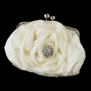 Elegance by Carbonneau EB-329-Brooch-185 Silver Frame & Shoulder Strap Floral Rose Evening Bag 329 with Antique Silver Clear Floral Wreath Brooch 185