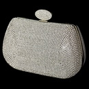 Elegance by Carbonneau EB-348-S-CL Silver Clear Rhinestone Encrusted Front Evening Bag with Link Chain