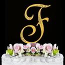 Elegance by Carbonneau F-Sparkle-Gold Sparkle ~ Swarovski Crystal Wedding Cake Topper ~ Gold Letter F