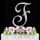 Elegance by Carbonneau F-Sparkle-Silver Sparkle ~ Swarovski Crystal Wedding Cake Topper ~ Silver Letter F
