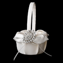 Elegance by Carbonneau FB-17-Brooch-13-A-Clear Flower Girl Basket 17 with Antique Clear Crystal Brooch 13