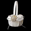 Elegance by Carbonneau FB-17-Brooch-13-G-Clear Flower Girl Basket 17 with Gold Clear Crystal Brooch 13