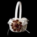 Elegance by Carbonneau FB-17-Brooch-8779-G-Red Flower Girl Basket 17 with Gold Red Crystal & Rhinestone Floral Brooch 8779
