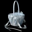 Elegance by Carbonneau FB-637-Blue Blue Lace Ribbon & Sheer Organza Flower girl Basket w/ Rhinestone & Pearl Accents