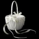Elegance by Carbonneau FB-637 Lace Ribbon & Sheer Organza Flower girl Basket w/ Rhinestone & Pearl Accents