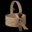 Elegance by Carbonneau FB-722-Brown Brown Ribbon & Gold Heart Flowergirl Basket 722