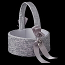 Elegance by Carbonneau FB-722-S Silver Ribbon & Silver Heart Flowegirl Basket 722